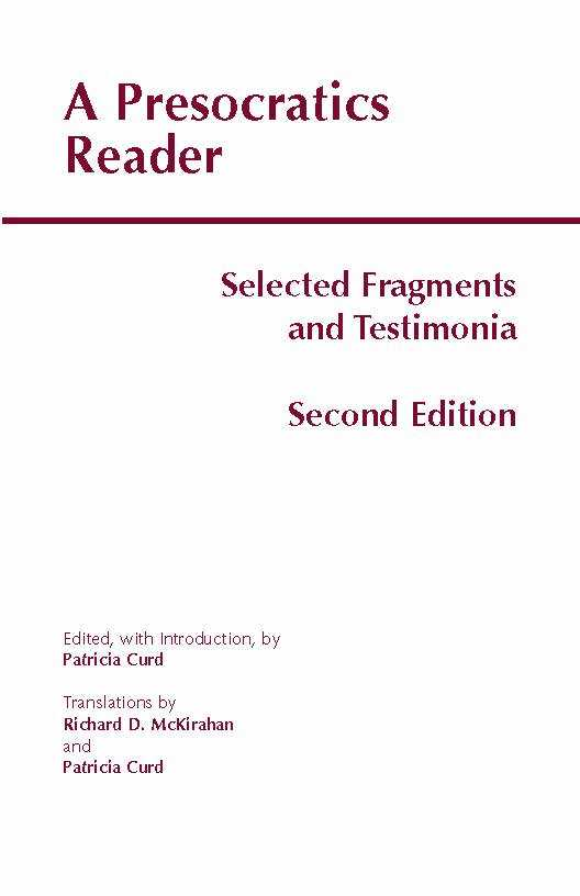 A Presocratics Reader 2nd Edition