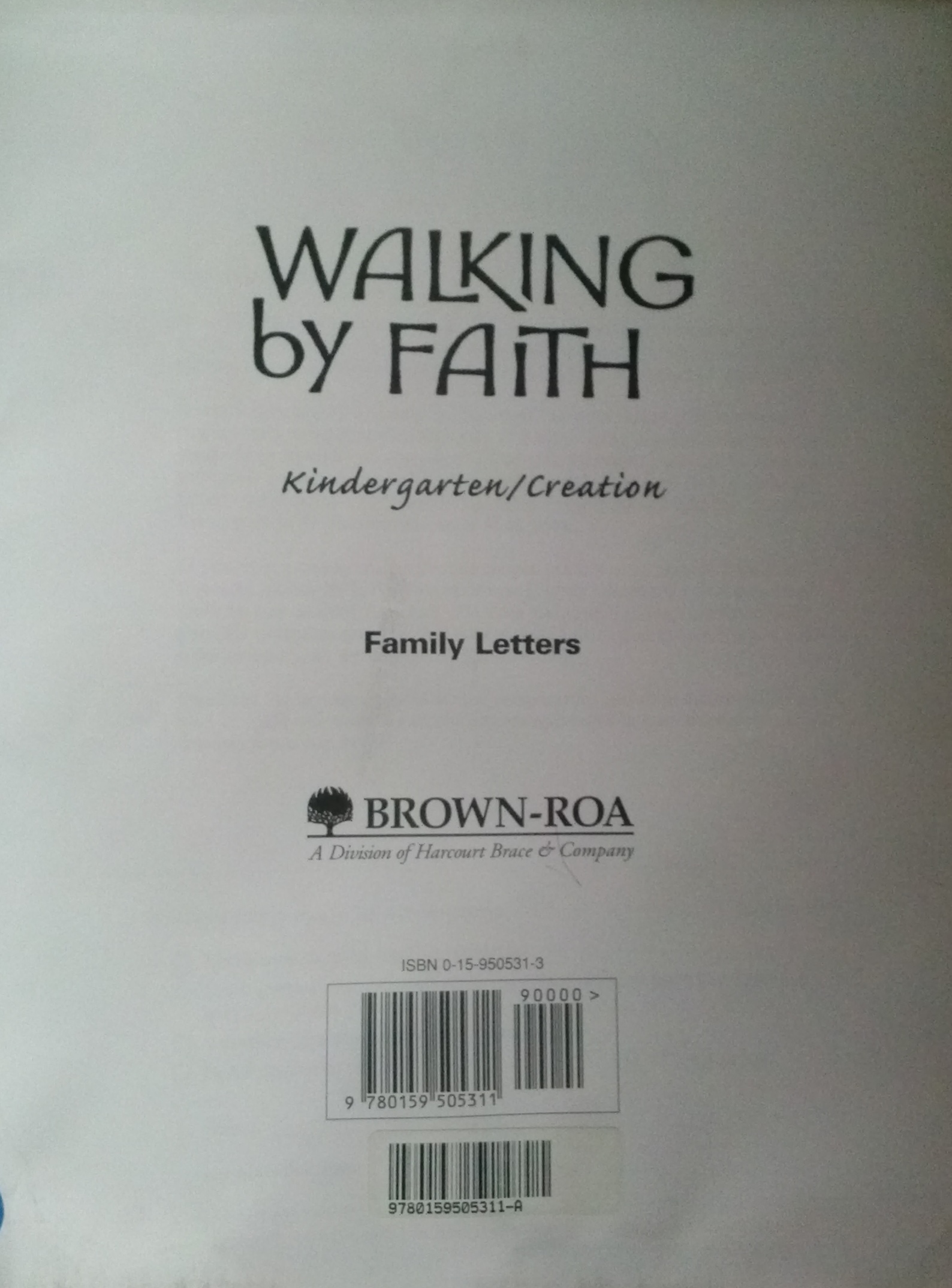 Walking By Faith: Grade K: Family Letters