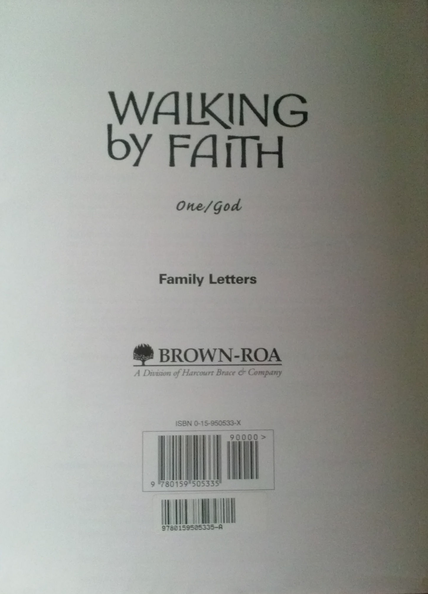 Walking By Faith: Grade 1: Family Letters