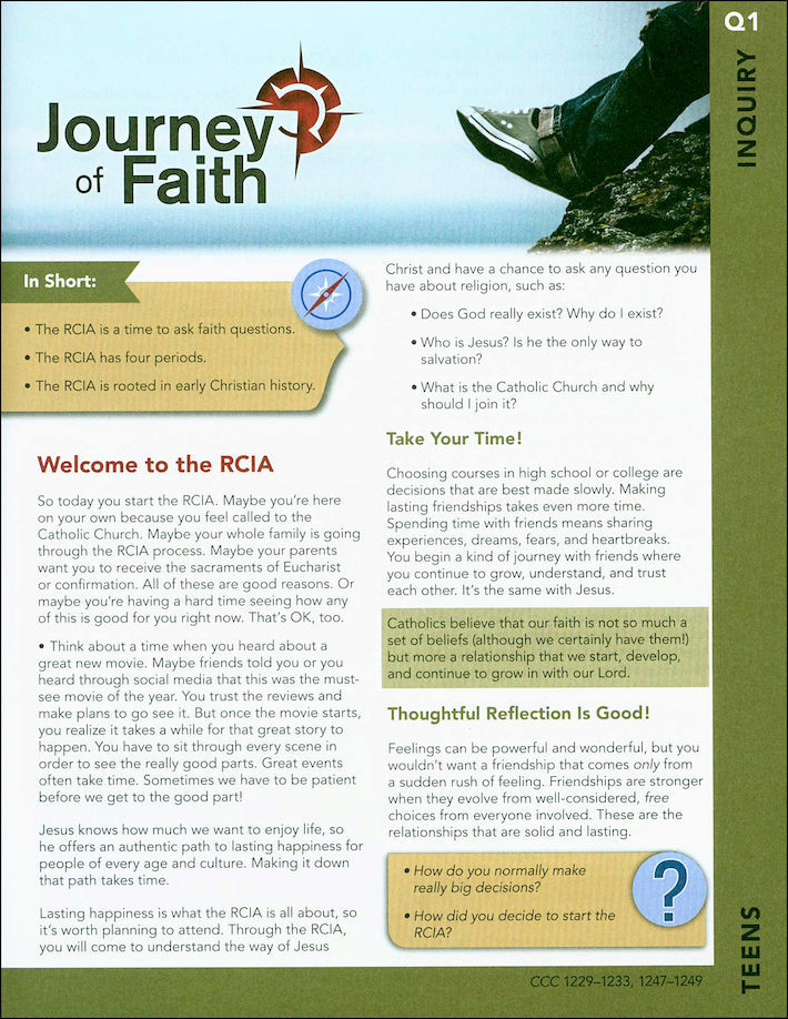 Journey of Faith: For Teens: Inquiry (16 Handouts