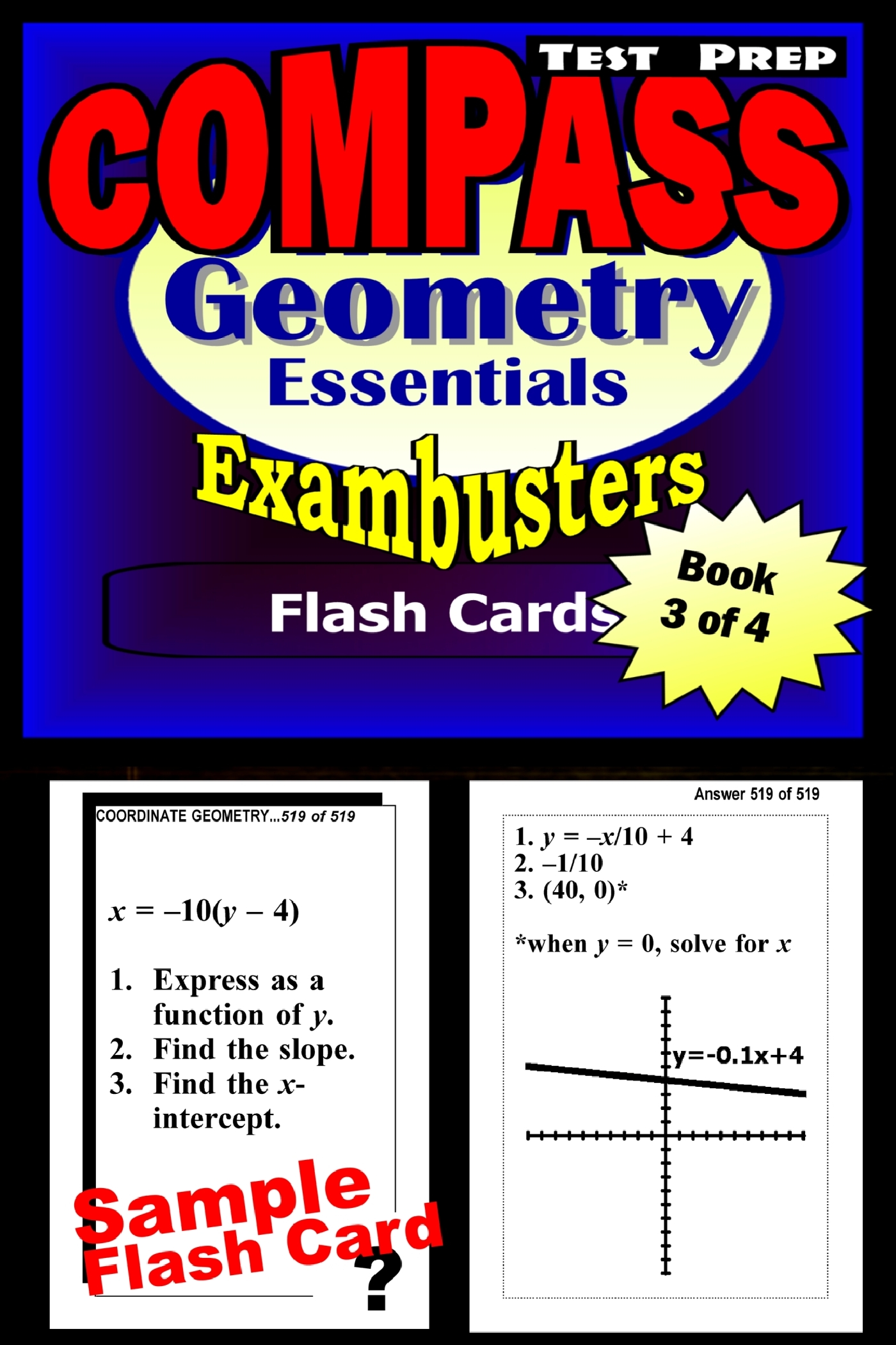 COMPASS Test Prep Geometry Review--Exambusters Flash Cards--Workbook 3 of 4: Compass Exam Study Guide