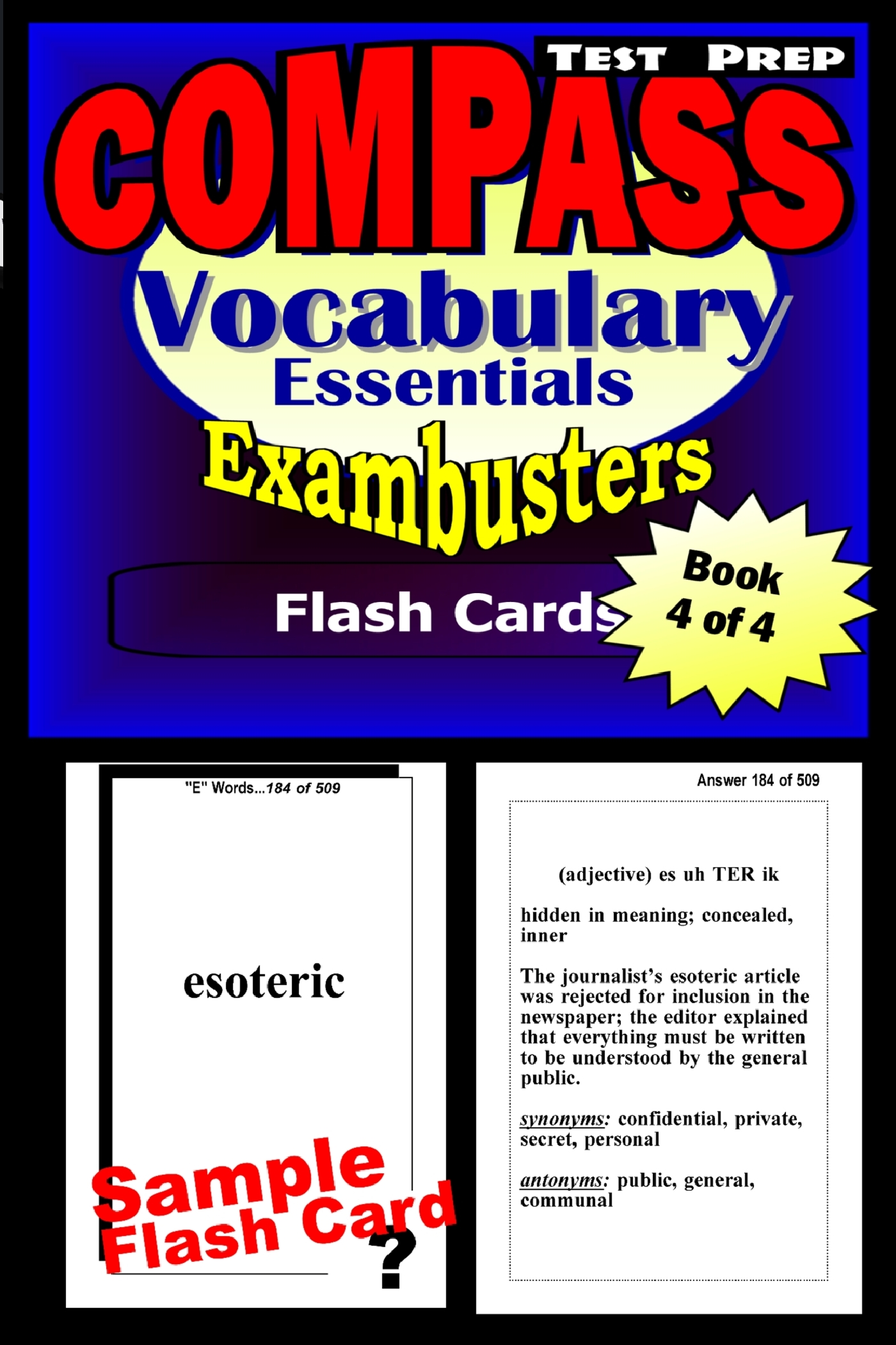 COMPASS Test Prep Essential Vocabulary--Exambusters Flash Cards--Workbook 4 of 4: Compass Exam Study Guide