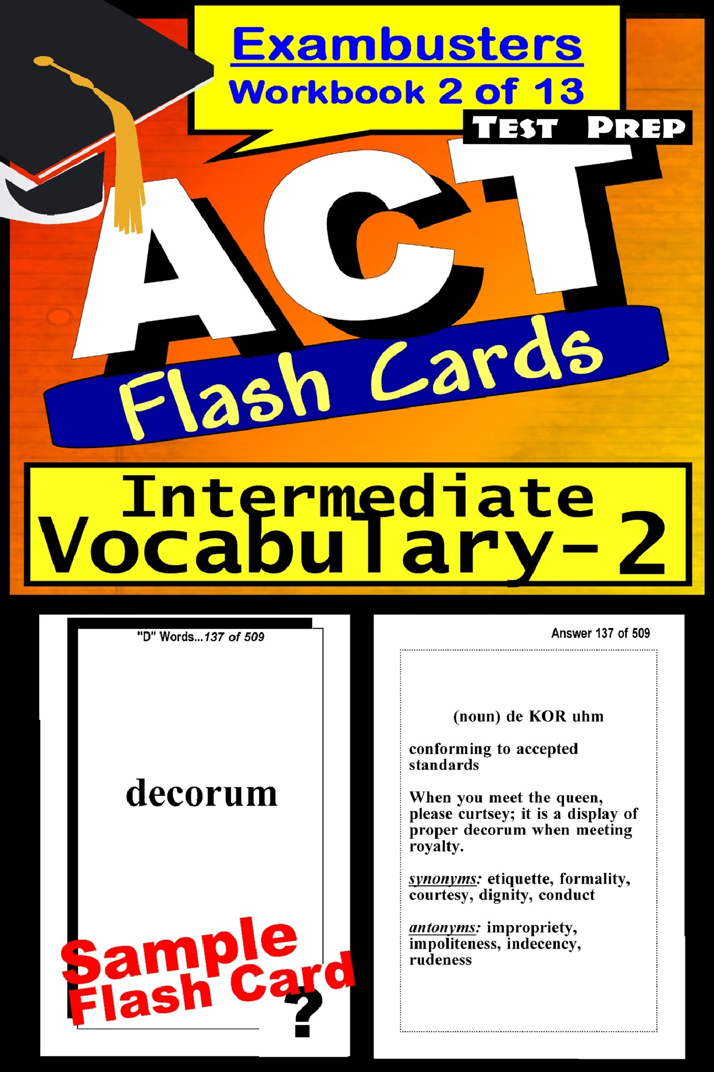 ACT Test Prep Intermediate Vocabulary Review--Exambusters Flash Cards--Workbook 2 of 13: ACT Exam Study Guide