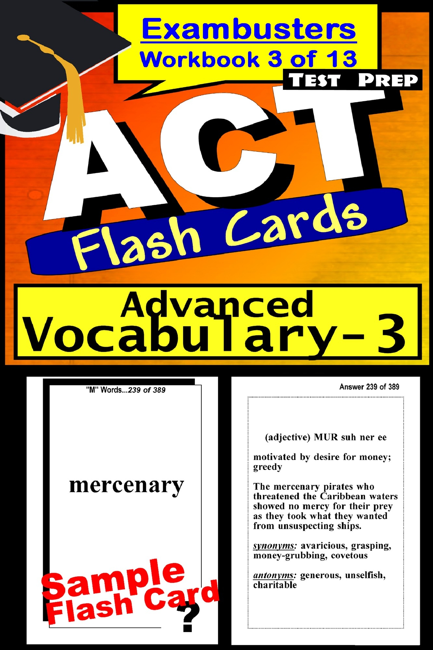 ACT Test Prep Advanced Vocabulary Review--Exambusters Flash Cards--Workbook 3 of 13: ACT Exam Study Guide
