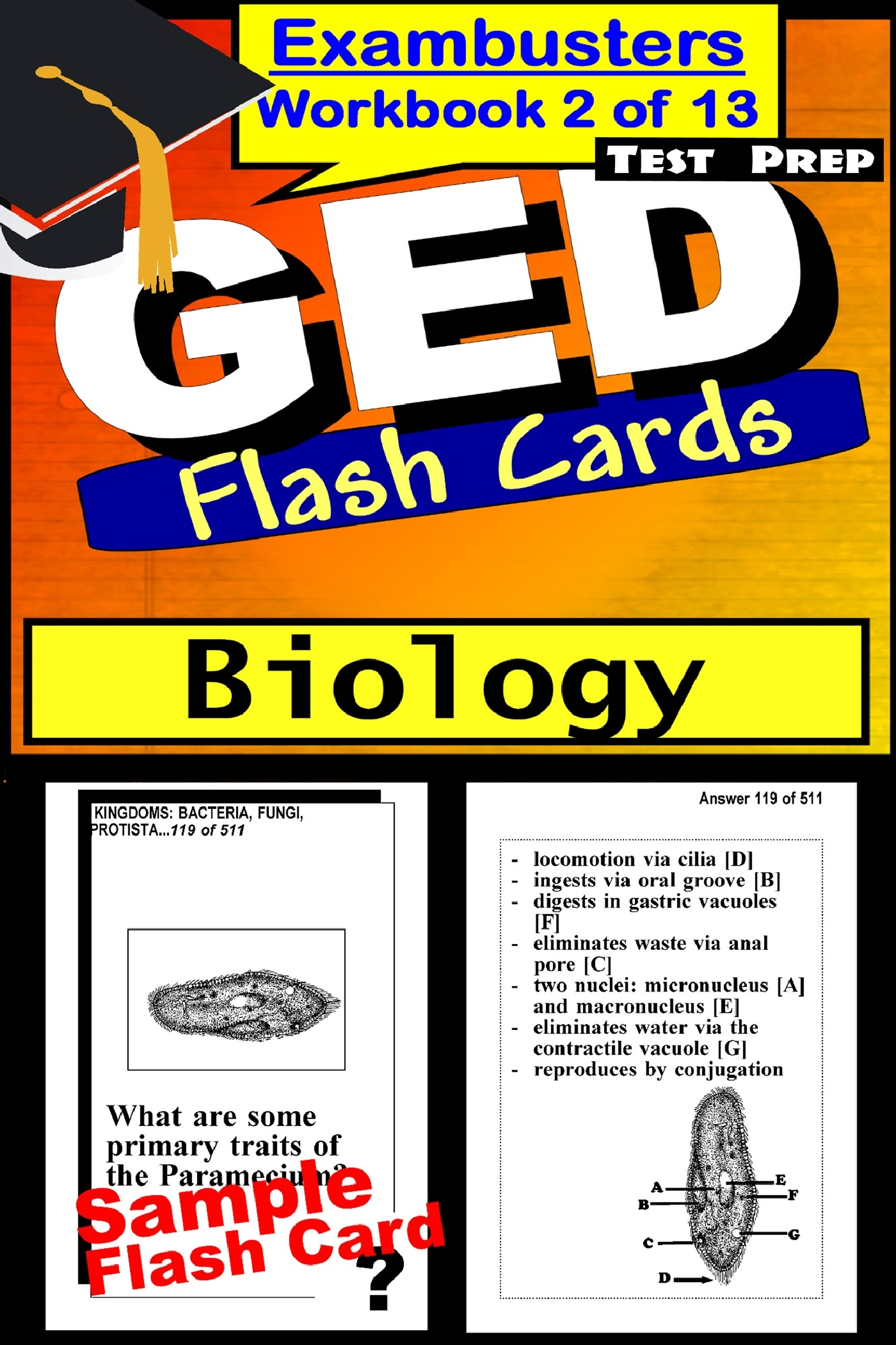 GED Test Prep Biology Review--Exambusters Flash Cards--Workbook 2 of 13: GED Exam Study Guide
