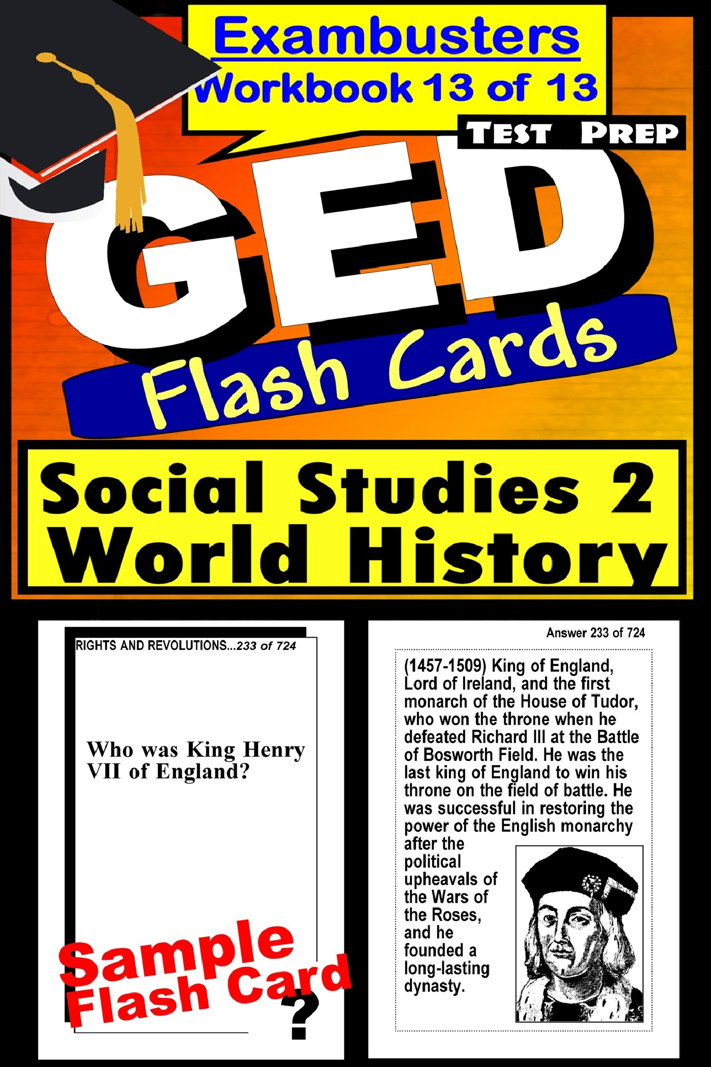 GED Test Prep Social Studies 2: World History Review--Exambusters Flash Cards--Workbook 13 of 13: GED Exam Study Guide