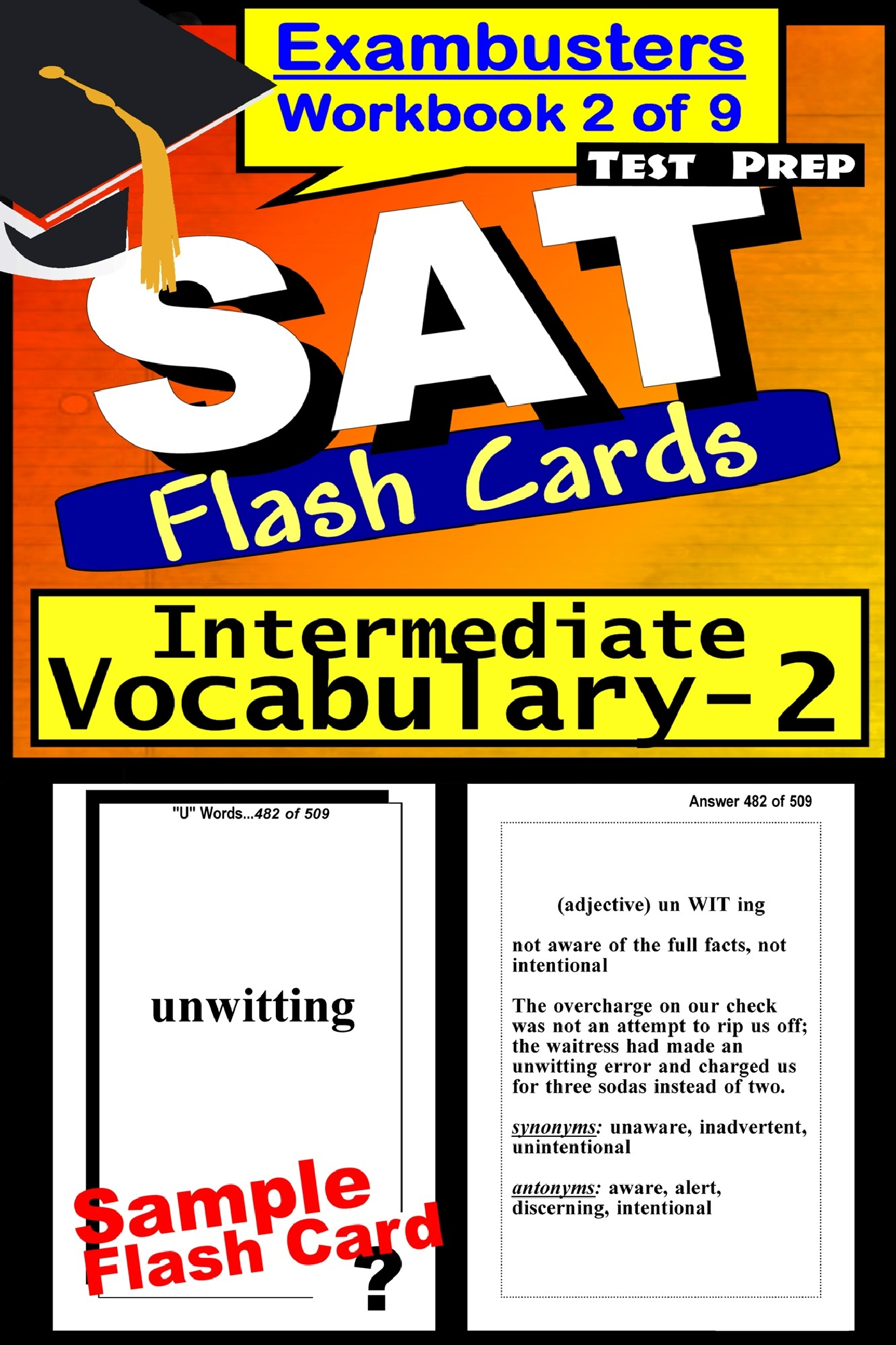 SAT Test Prep Intermediate Vocabulary 2 Review--Exambusters Flash Cards--Workbook 2 of 9: SAT Exam Study Guide