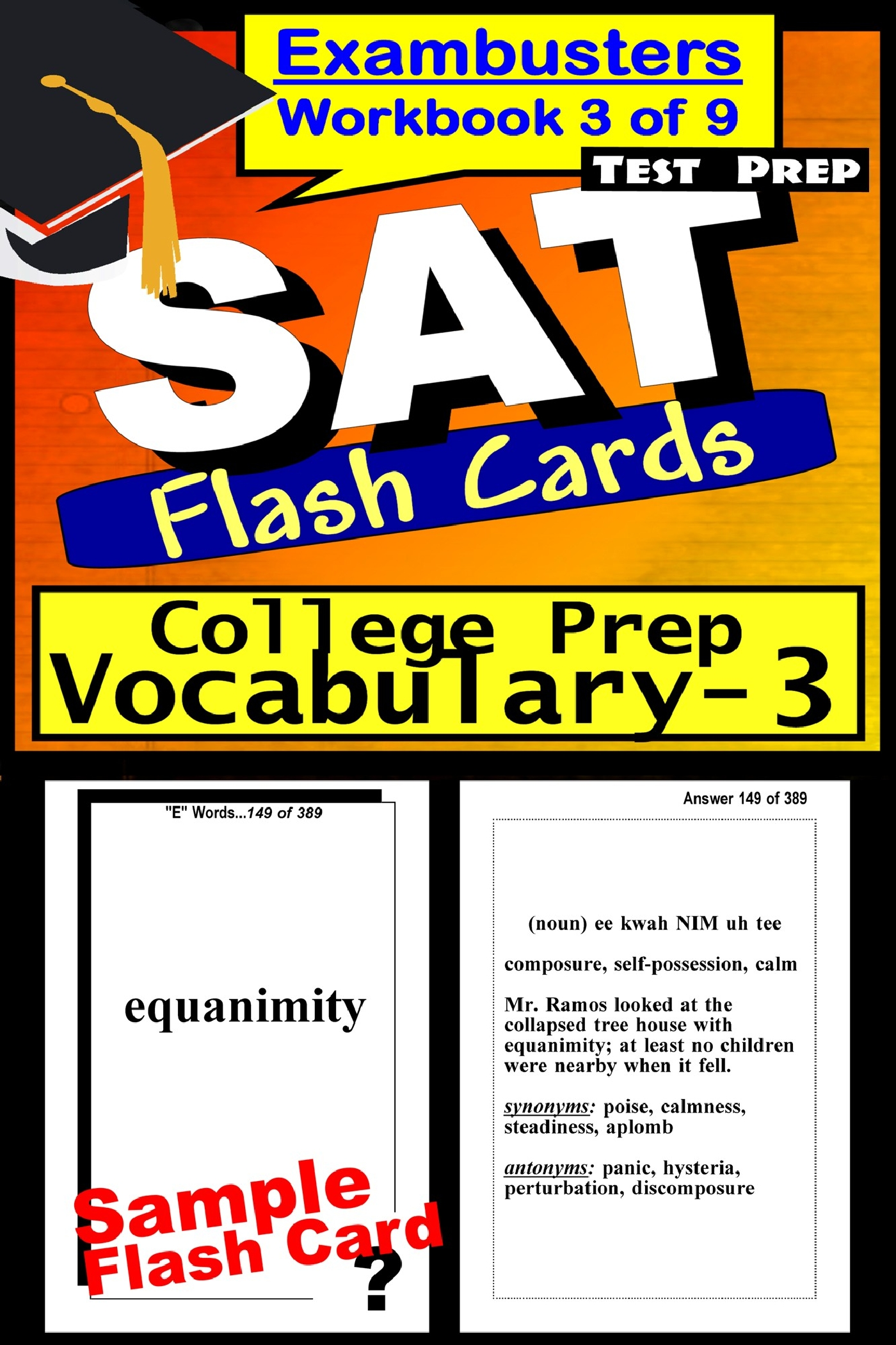 SAT Test Prep College Prep Vocabulary 3 Review--Exambusters Flash Cards--Workbook 3 of 9: SAT Exam Study Guide