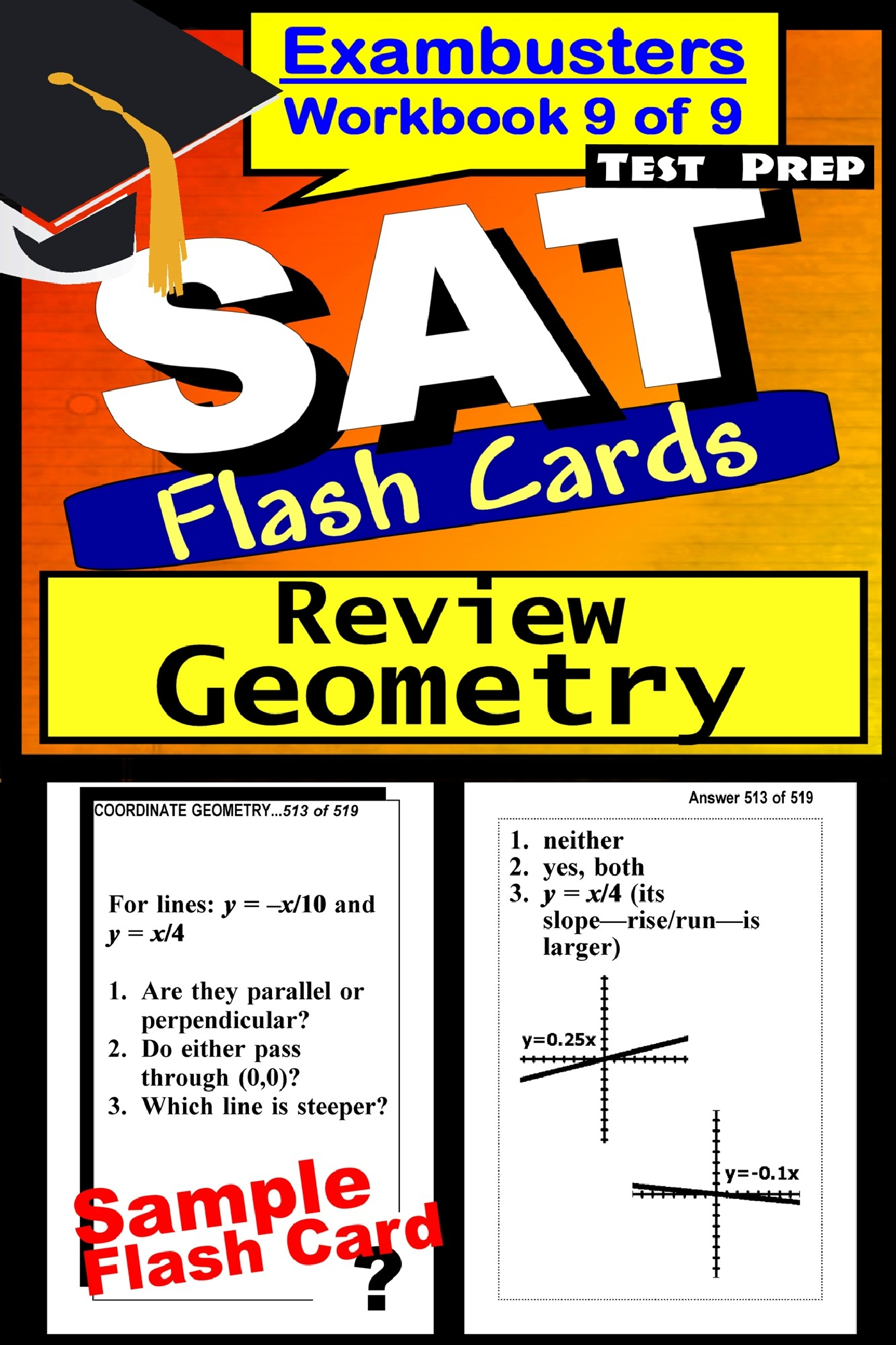 SAT Test Prep Geometry Review--Exambusters Flash Cards--Workbook 9 of 9: SAT Exam Study Guide