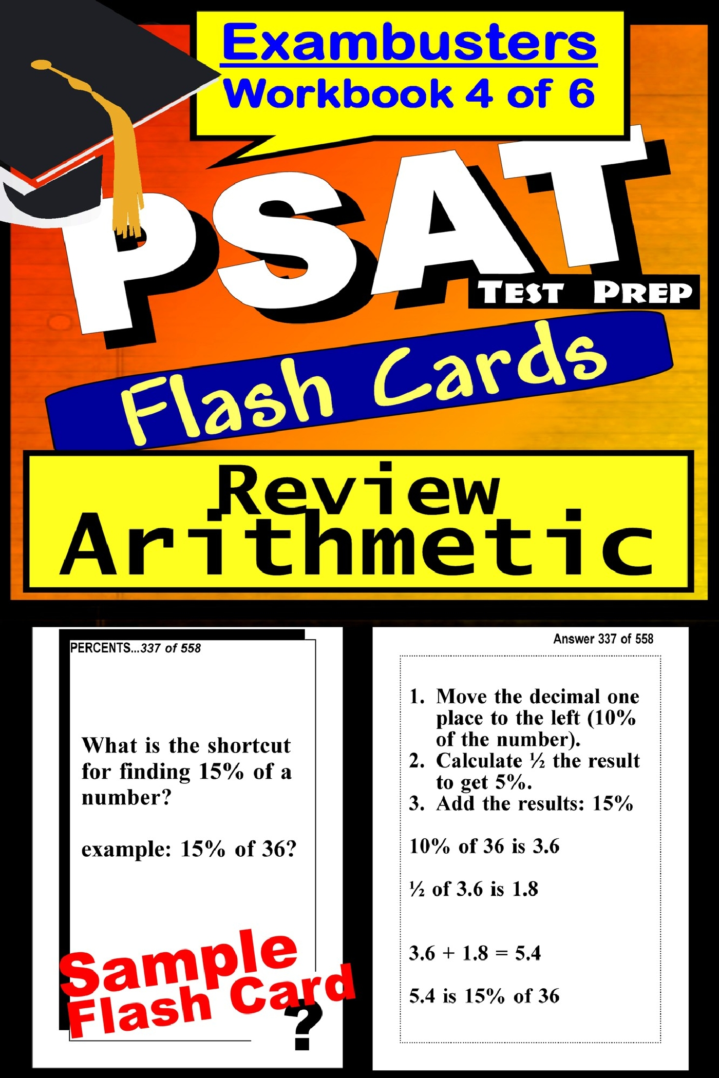 PSAT Test Prep Arithmetic Review--Exambusters Flash Cards--Workbook 4 of 6: PSAT Exam Study Guide