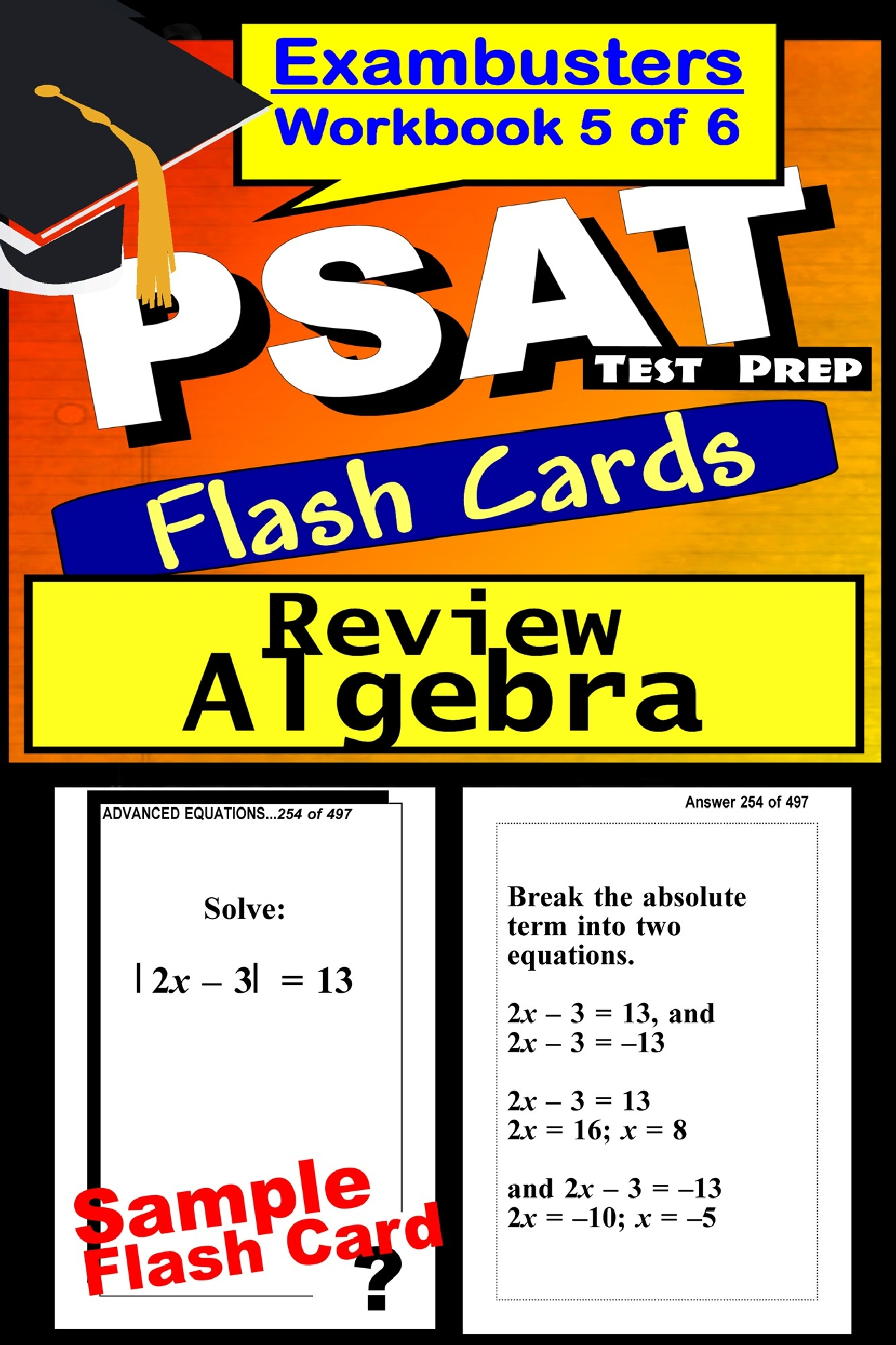 PSAT Test Prep Algebra Review--Exambusters Flash Cards--Workbook 5 of 6: PSAT Exam Study Guide
