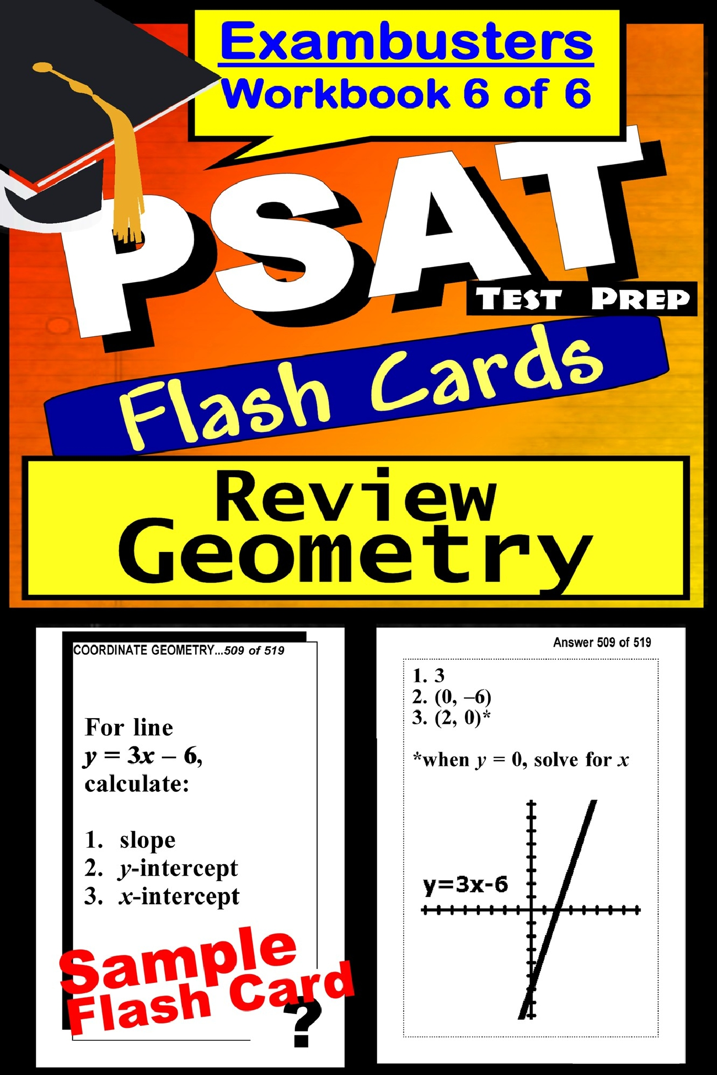 PSAT Test Prep Geometry Review--Exambusters Flash Cards--Workbook 6 of 6: PSAT Exam Study Guide