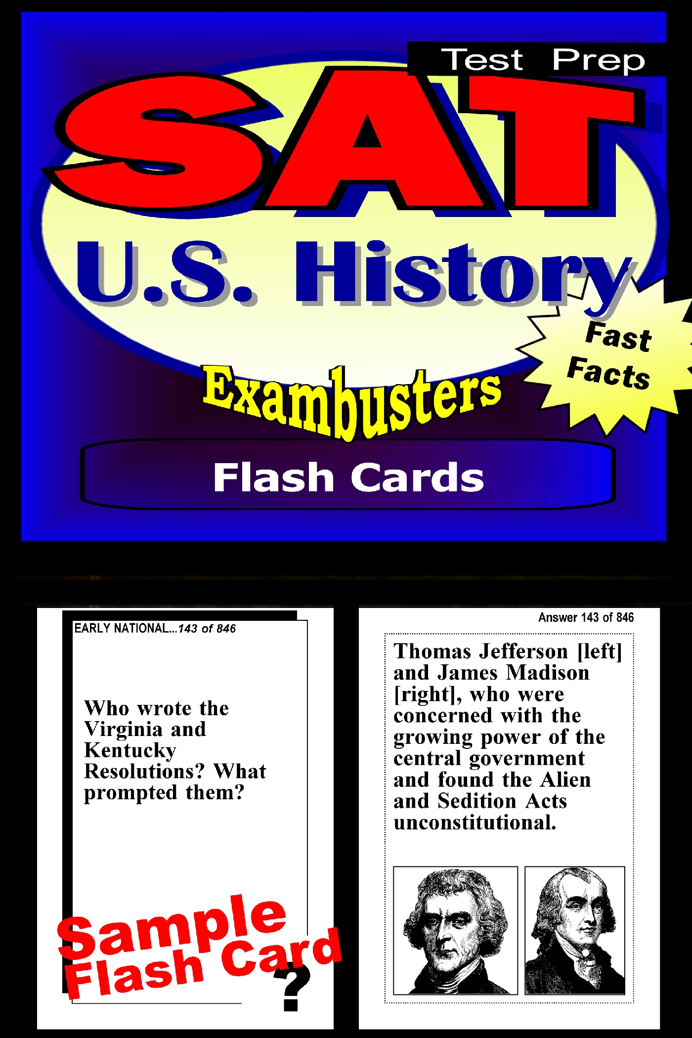 SAT US History Test Prep Review--Exambusters Flash Cards: SAT II Exam Study Guide